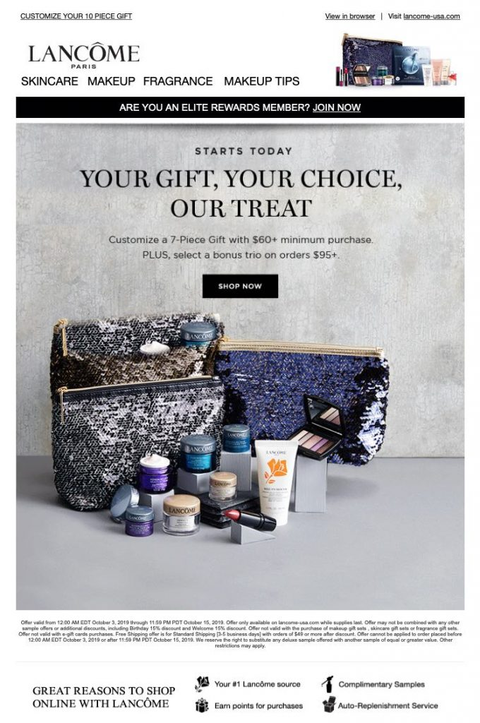 Lancôme- Gift with Purchase Starts Today-email